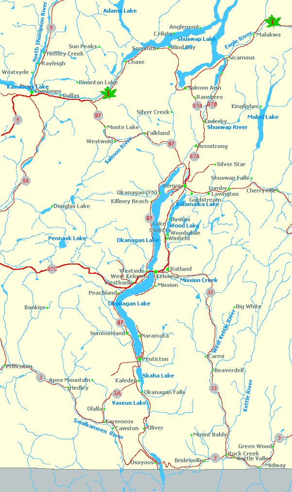 Map Of Okanagan Valley Map of the Okanagan Valley